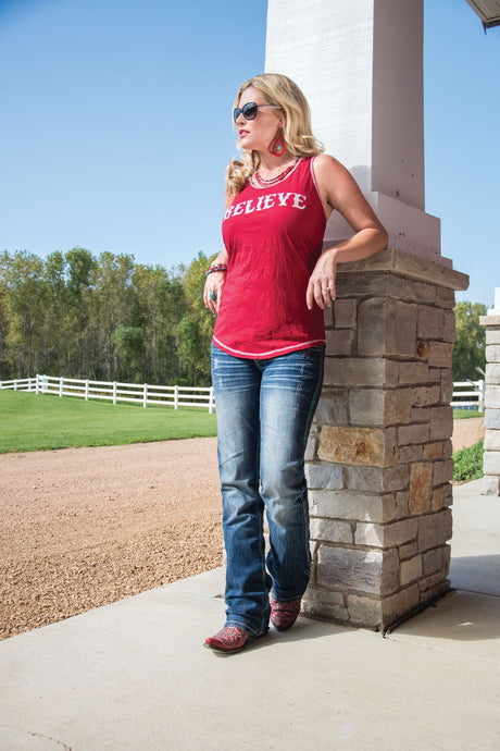 Cowgirl Tuff Red Racerback Tank With Believe Embroidery