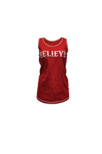 Red Racerback Tank With Believe Embroidery