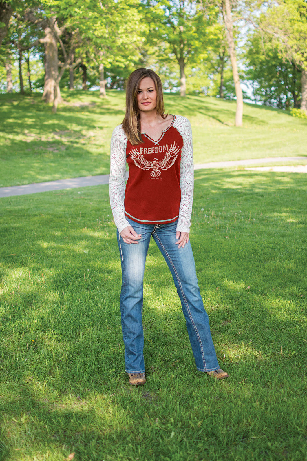 Cowgirl Tuff Red Raglan Long Sleeve Tee