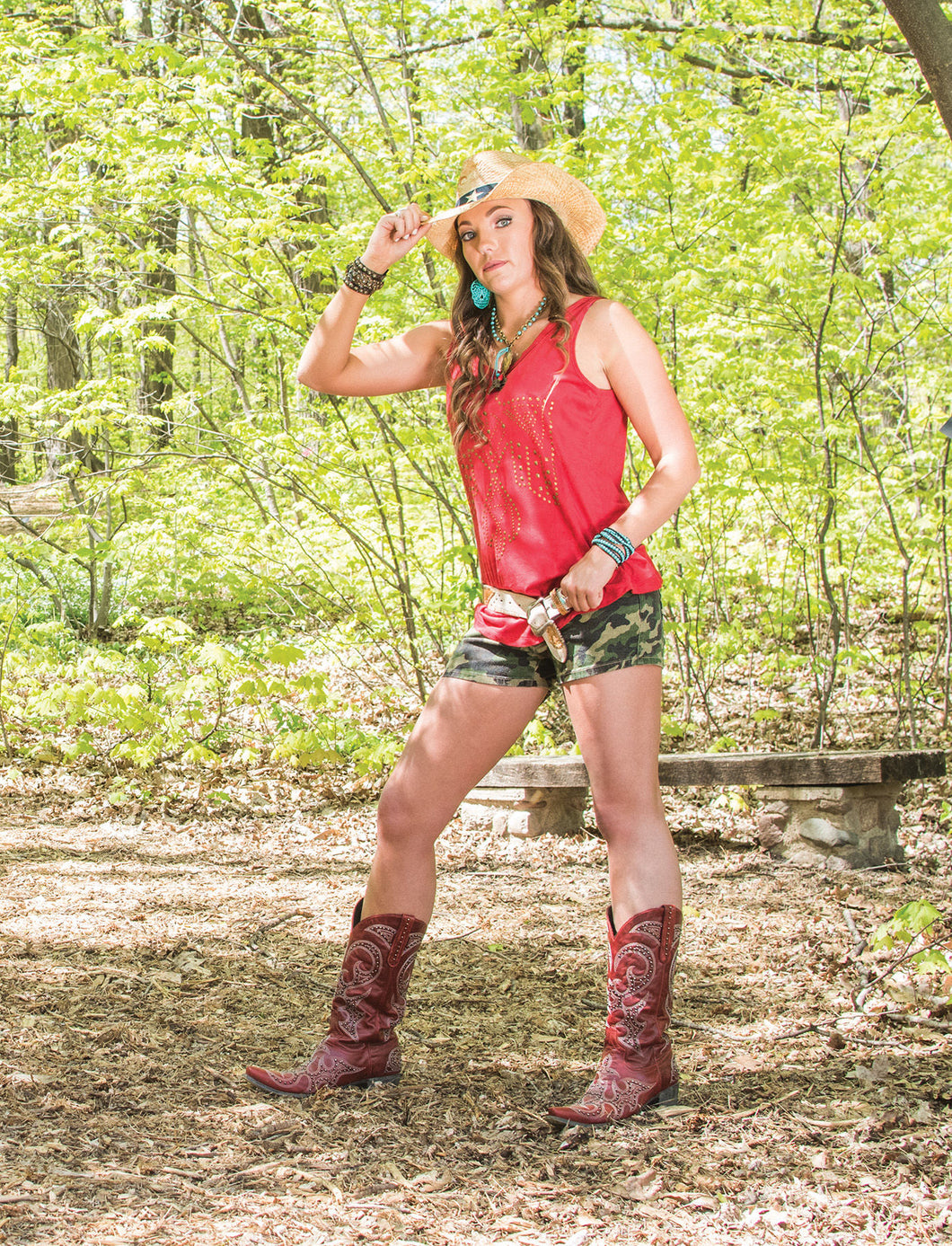 Cowgirl Tuff Red Suede Tank