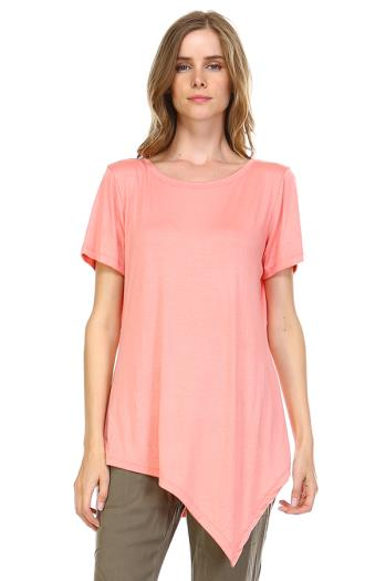 JOH Women's Soft Tunic T-Shirt - Bias-Cut Asymmetrical Hem Tee
