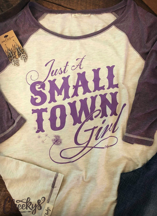 Cheeky's Small Town Girl Gin White & Nightshade 3/4 Sleeve Raglan Tee