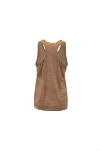 Tan Suede Racerback Tank With Dreamcatcher