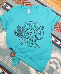 Light Teal Tee With Desert Graphic