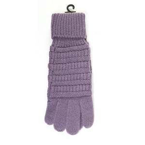 Solid Cable Knit Gloves