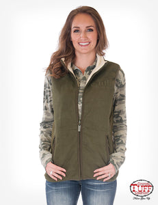 Army Green Reversible Vest With Stretch Side Panels And Branded Embroidery
