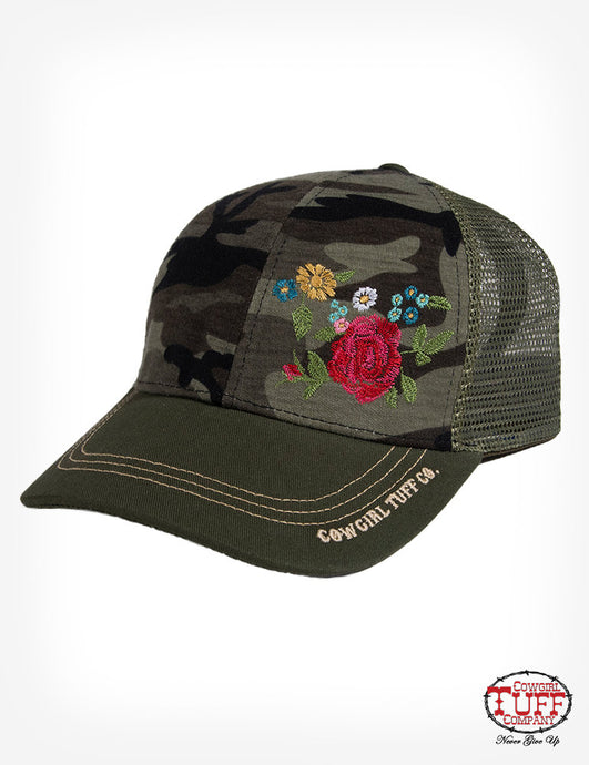 Army Green Trucker Cap With Camo Print Panel And Floral Embroidery
