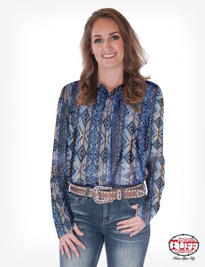 Cowgirl Tuff Aztec Jersey Pullover Button Up