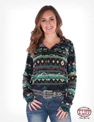 Cowgirl Tuff Aztec Sport Jersey Pullover Button Up
