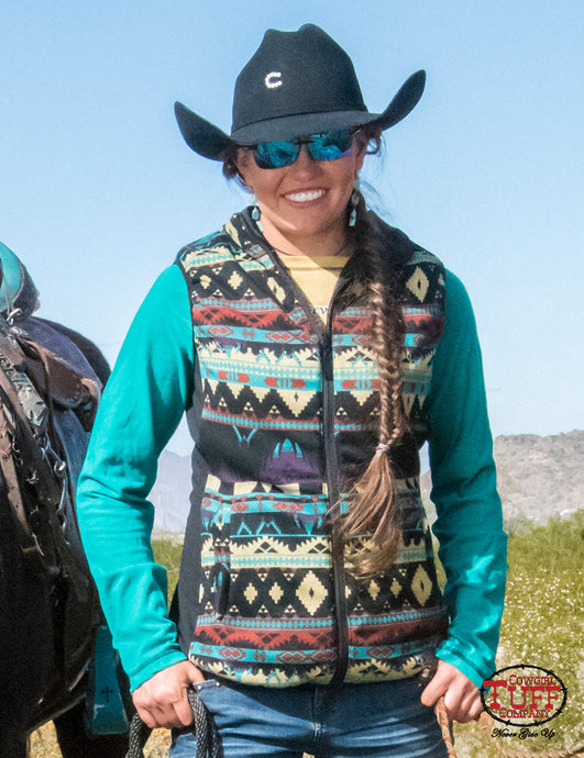 Cowgirl Tuff Aztec Vest With Stretch Side Panels