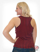 Black And Red Buffalo Plaid Racerback Tank With Front Buffalo Patc