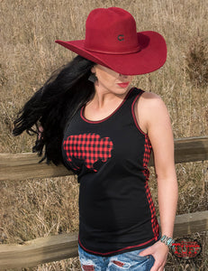 Cowgirl Tuff Black And Red Buffalo Plaid Racerback Tank With Front Buffalo Patch