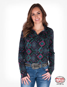 Cowgirl Tuff Black Aztec Jersey Pullover Button Up