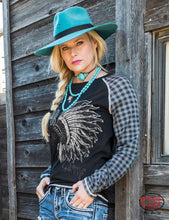 Cowgirl Tuff Black Jersey Raglan Tee With Plaid Long Sleeve And Headdresss Print