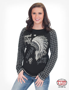 Black Jersey Raglan Tee With Plaid Long Sleeve And Headdresss Print