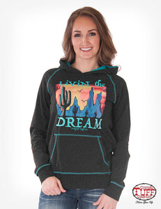 Cowgirl Tuff Black Pullover Hoodie, Turquoise Contrast Stitch And Desert Print