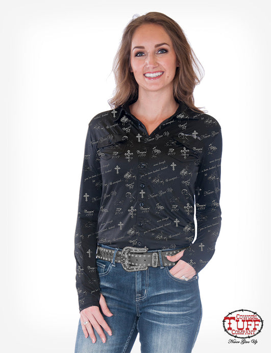 Cowgirl Tuff Black Sport Jersey Pullover Button Up With Allover Foil Print