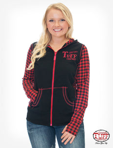 Black Zip Hoodie With Red Buffalo Plaid Long Sleeves And Branded Embroidery