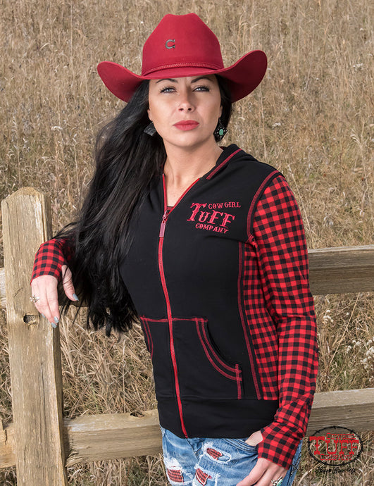 Cowgirl Tuff Black Zip Hoodie With Red Buffalo Plaid Long Sleeves And Branded Embroidery