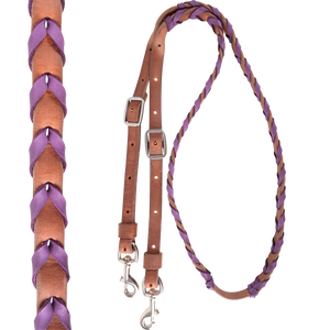 Harness Barrel Rein With Latigo Lacing