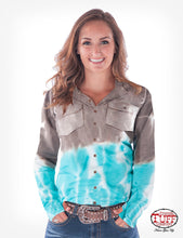 Cowgirl Tuff Brown And Turquoise Tie-Dye Sport Jersey Pullover