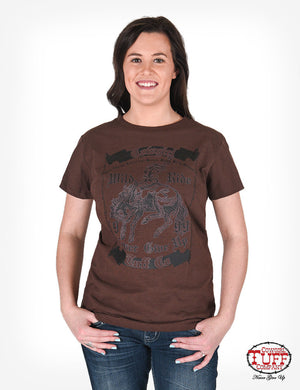 Cowgirl Tuff Brown Short-Sleeve Tee With Buckin' Bronco Graphic