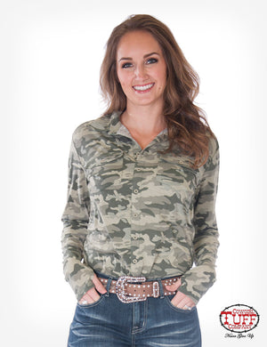 Cowgirl Tuff Camo Sport Jersey Pullover Button Up