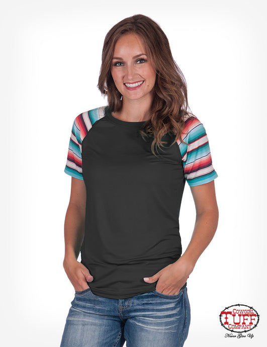 Cowgirl Tuff Charcoal And Serape Lux Athletic Jersey Raglan Tee