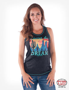 Cowgirl Tuff Charcoal Heather Racerback Tank With Desert Graphic