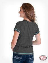 Charcoal Heather Short Sleeve V-Neck Tee With Desert Graphic