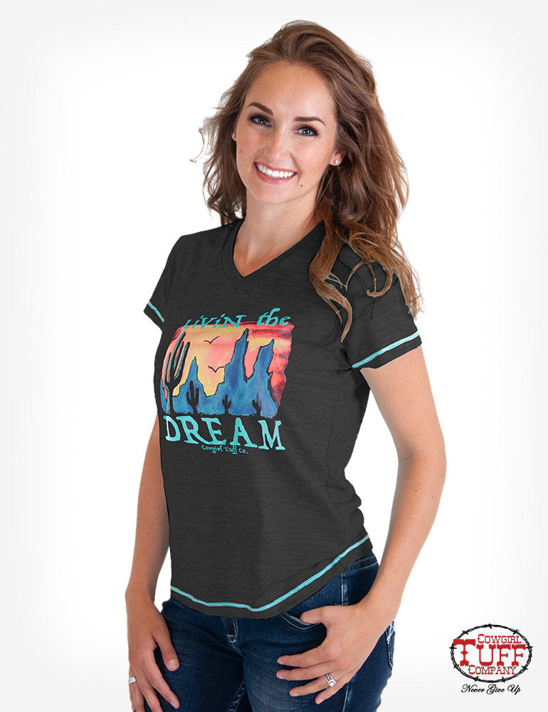 Cowgirl Tuff Charcoal Heather Short Sleeve V-Neck Tee With Desert Graphic
