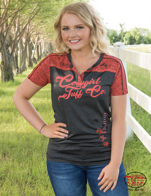 f8e12573 Cowgirl Tuff Charcoal Lux Athletic Tee With Coral Accents & Cowgirl Tuff  Company® Print