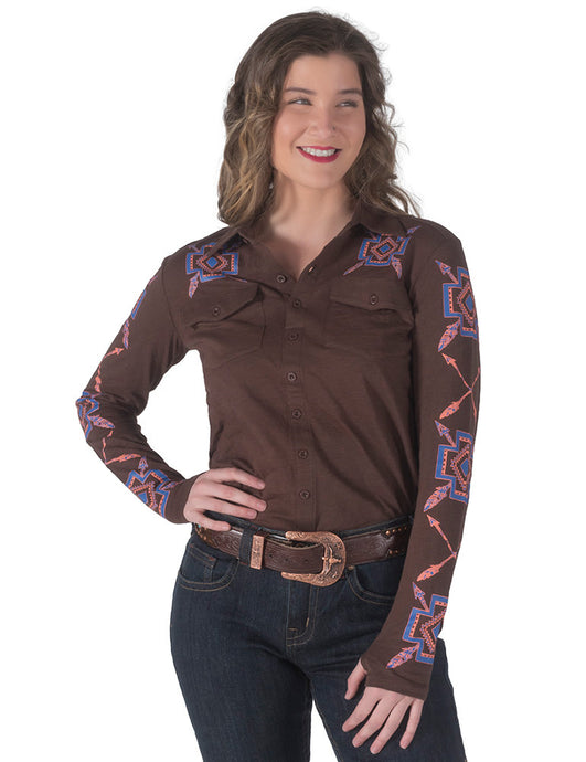 Cowgirl Tuff Geometric Print Jersey Pullover Button-Up (Brown)