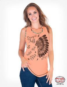Cowgirl Tuff Coral And Coral Aztec Print Tank With Headdress Print