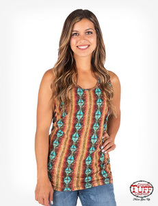 Cowgirl Tuff Coral And Turquoise Aztec Print Tank