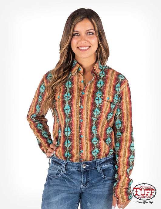 Cowgirl Tuff Coral And Turquoise Aztec Sport Jersey Pullover