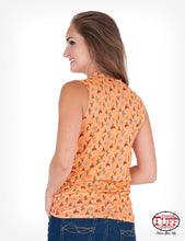 Coral Western Print Sleeveless Tee With Knotted Front Hem And Keyhole Neckline