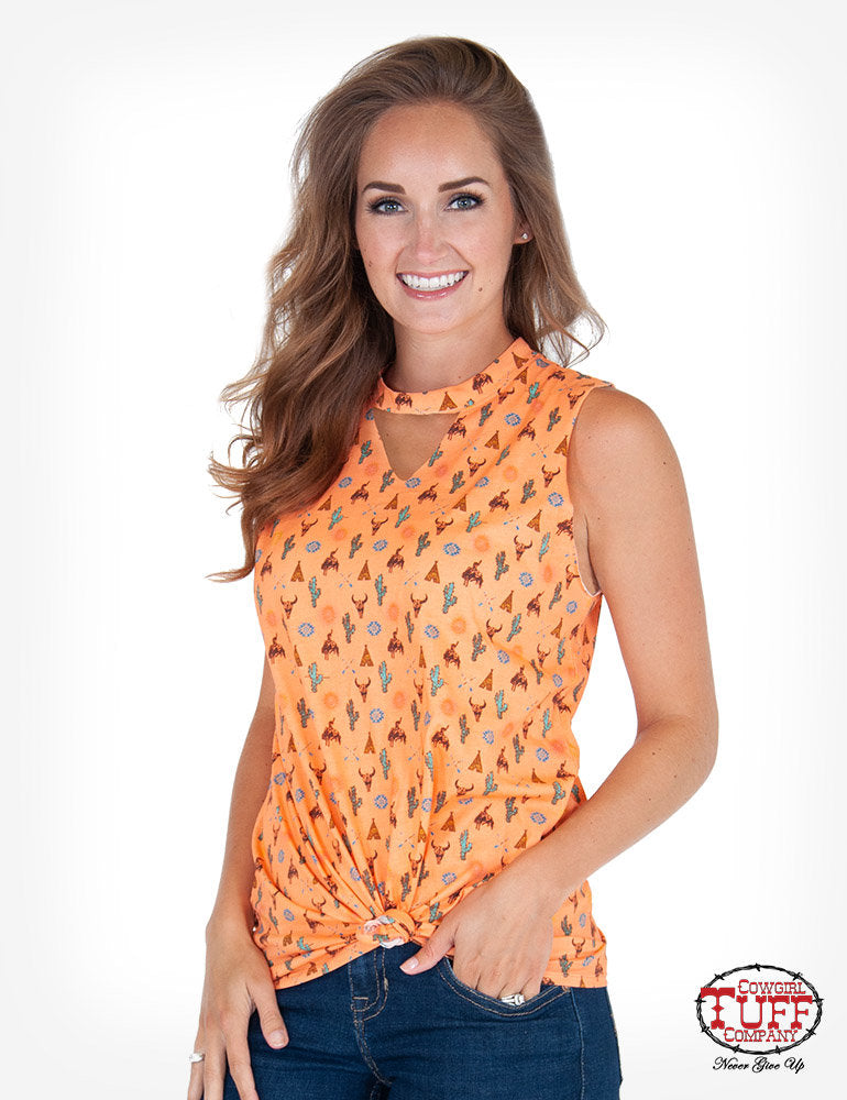 Cowgirl Tuff Coral Western Print Sleeveless Tee With Knotted Front Hem And Keyhole Neckline