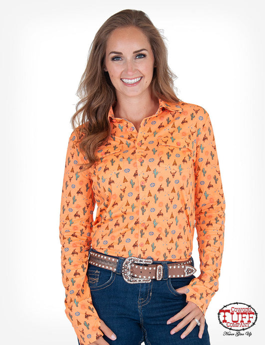 Cowgirl Tuff Coral Western Print Sport Jersey Pullover Button-Up