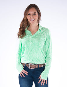 Cowgirl Tuff Cosmic Lime Stripe Sport Jersey Pullover Button Up