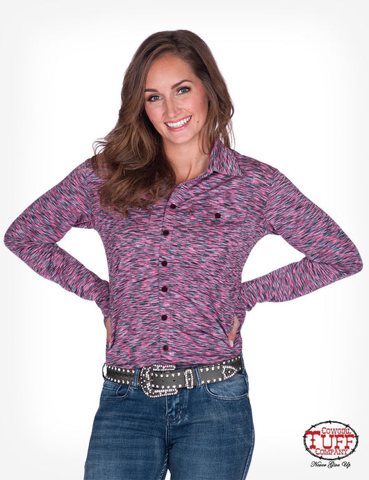 Cowgirl Tuff Cosmic Pink Stripe Sport Jersey Pullover Button Up