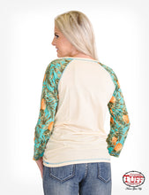 Cream 3/4 Sleeve Tee With Pineapple Print Sleeves And Beach Graphic