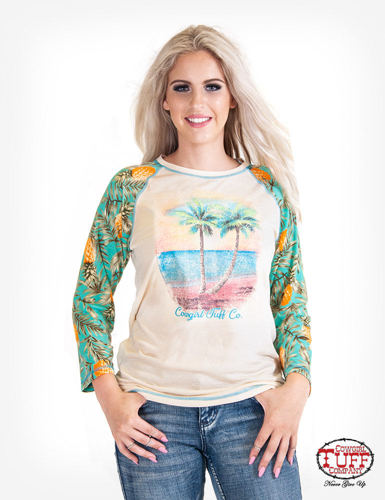 Cowgirl Tuff Cream 3/4 Sleeve Tee With Pineapple Print Sleeves And Beach Graphic