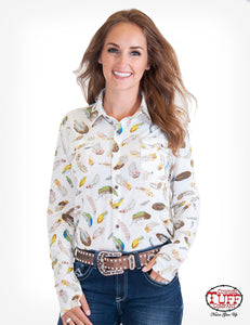 Cowgirl Tuff Cream Feather Print Sport Jersey Pullover Button Up