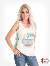 Cowgirl Tuff Cream Racerback Tank With Beach Graphic On Front And Pineapple Print Back