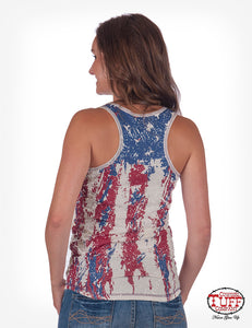 Cream Racerback Tank With Victory Cross Print, Studs, And Back Digital Flag Print