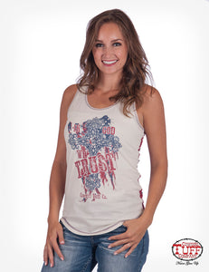 Cowgirl Tuff Cream Racerback Tank With Victory Cross Print, Studs, And Back Digital Flag Print