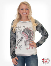 Cream Raglan Tee With Bandana Long Sleeves And Front Headdress Print