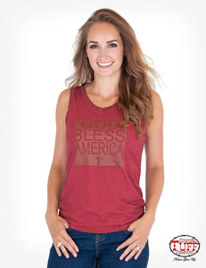 "Cowgirl Tuff Dark Red Overdyed Sleeveless V-Neck W/ ""God Bless America"" Cross Graphic"