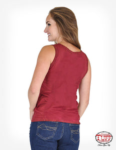 "Dark Red Overdyed Sleeveless V-Neck W/ ""God Bless America"" Cross Graphic"